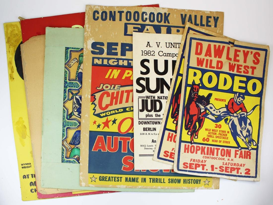 NH rodeo, racing and hand painted broadsides