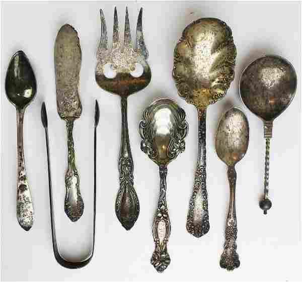 8 pcs. Sterling and coin silver serving flatware