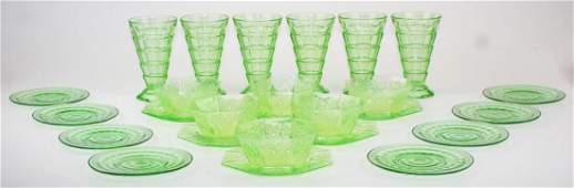 group of green Elegant Depression Era glassware