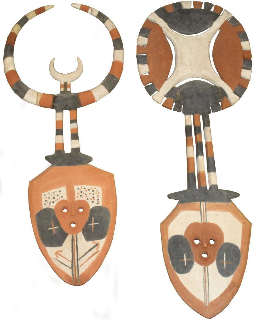 6' African Bedu Sun & Moon dance masks