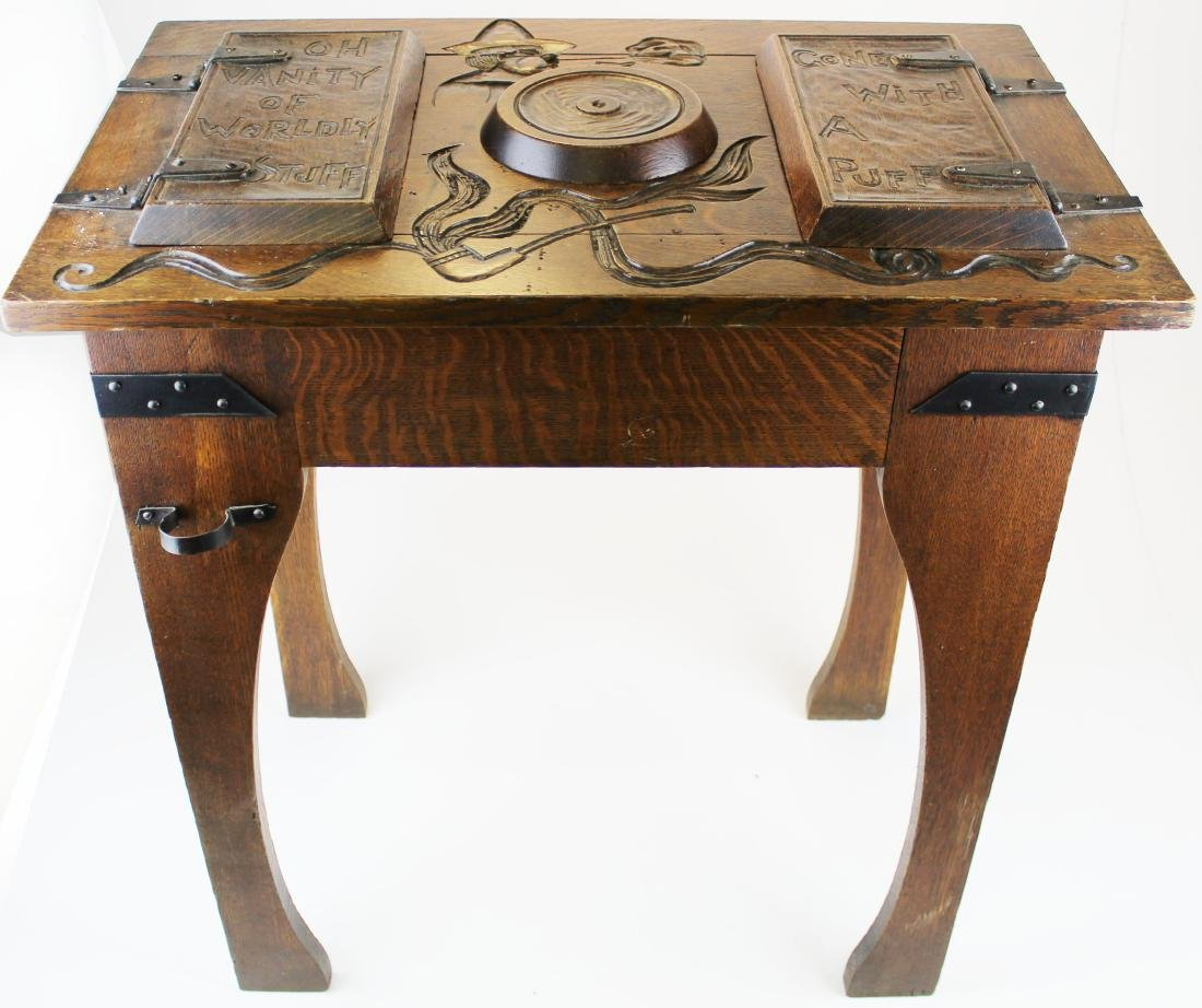 Arts and Crafts carved oak lodge smoking stand