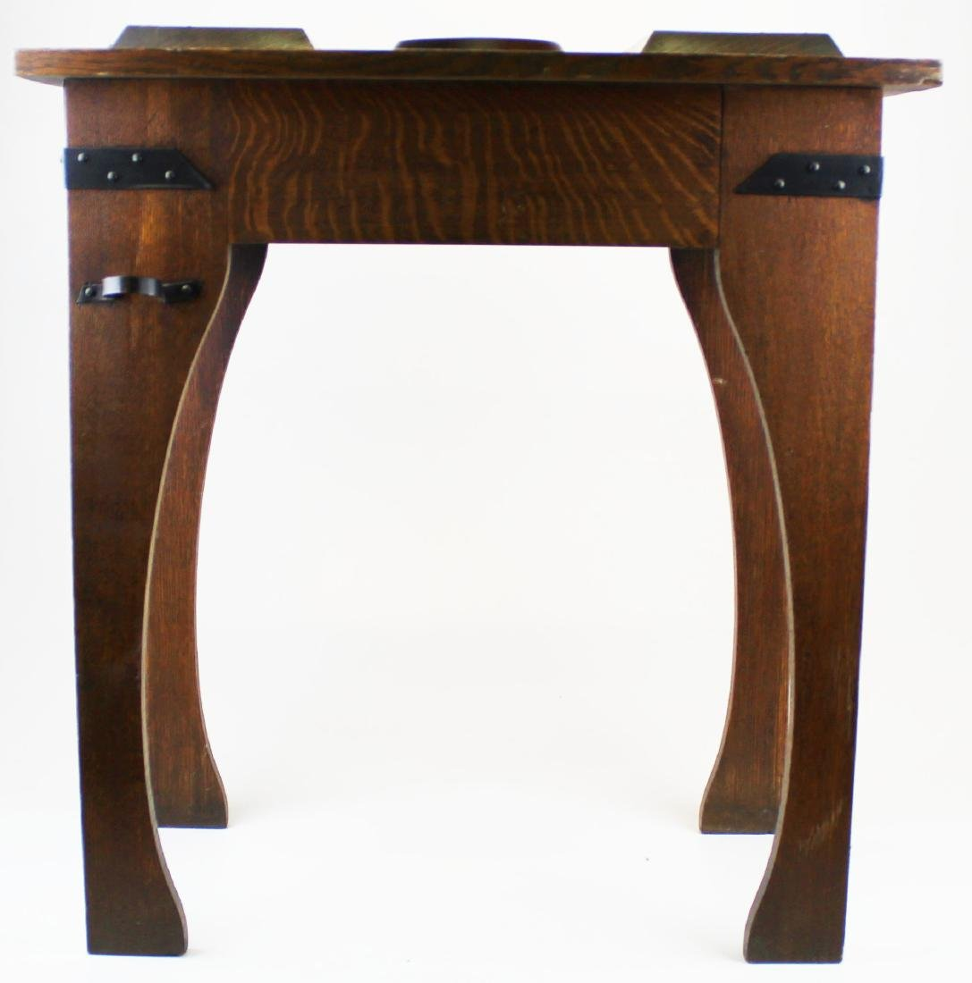 Arts and Crafts carved oak lodge smoking stand - 2