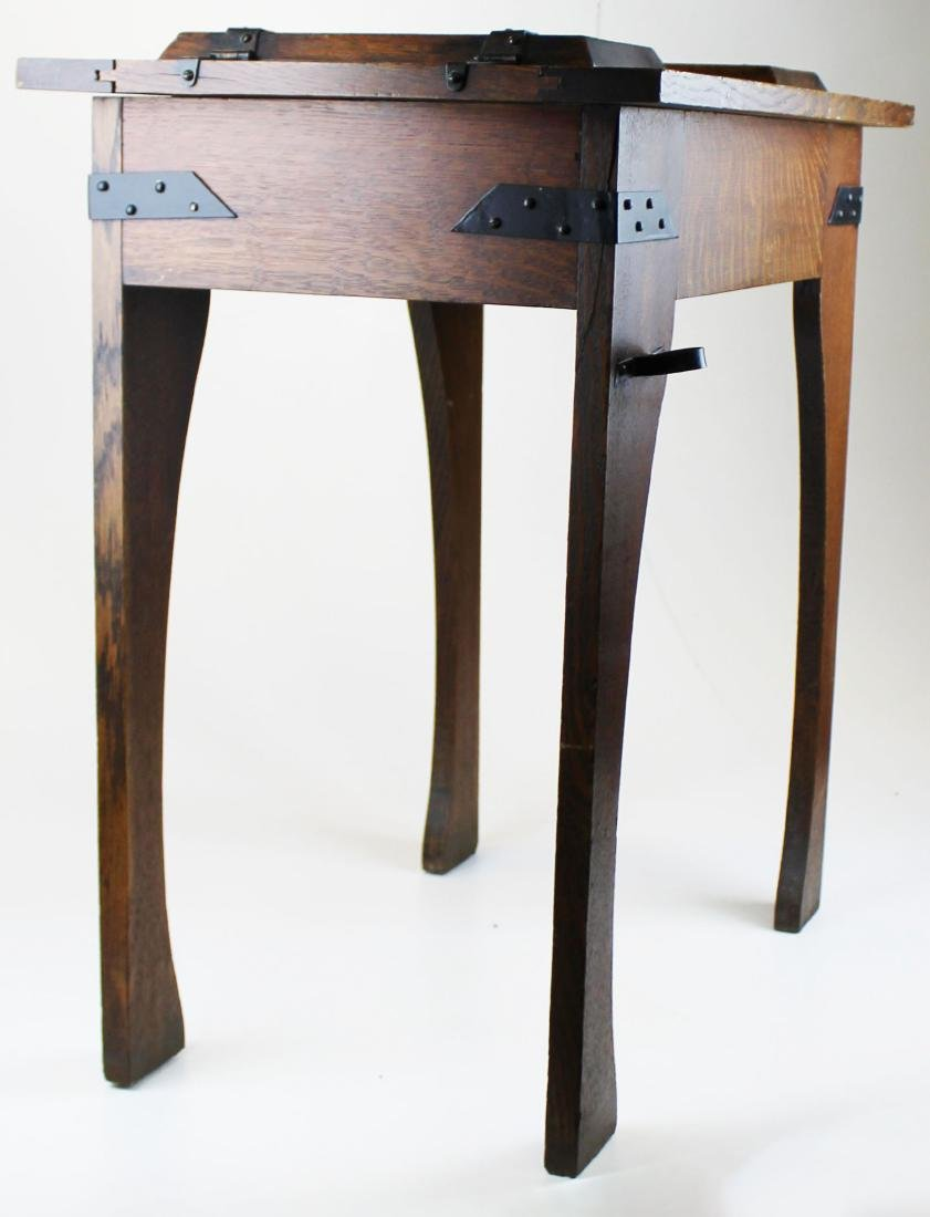 Arts and Crafts carved oak lodge smoking stand - 5