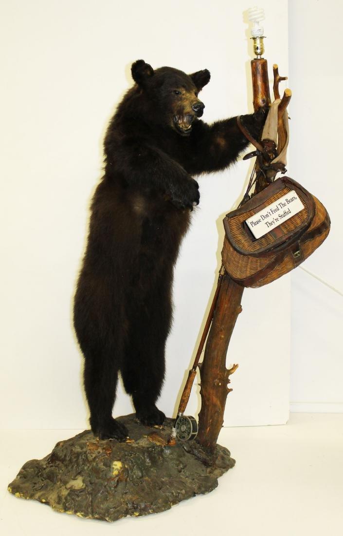 Standing bear taxidermy floor lamp