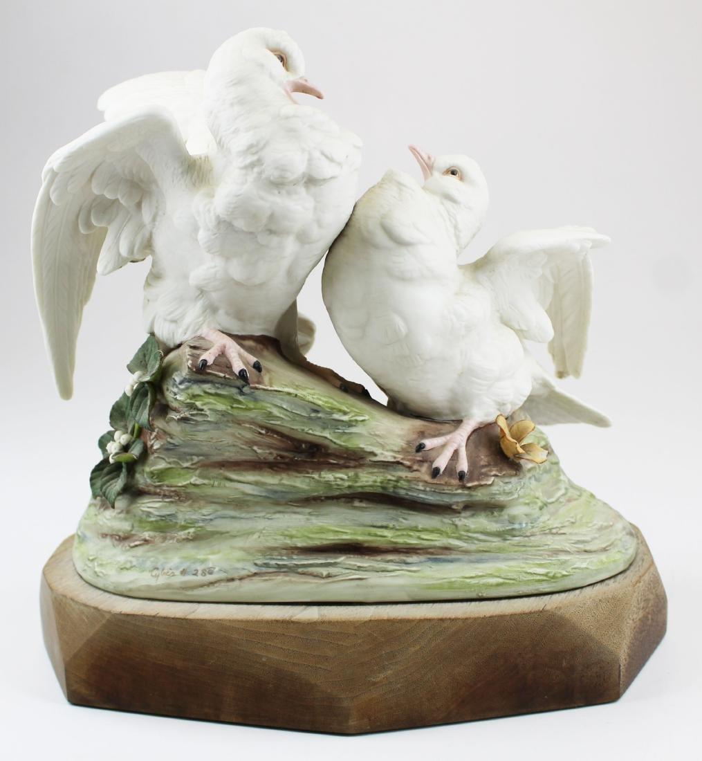 pair of Cybis porcelain white bird figurines