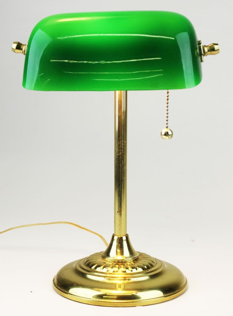 Brass banker's desk lamp with emerald shade