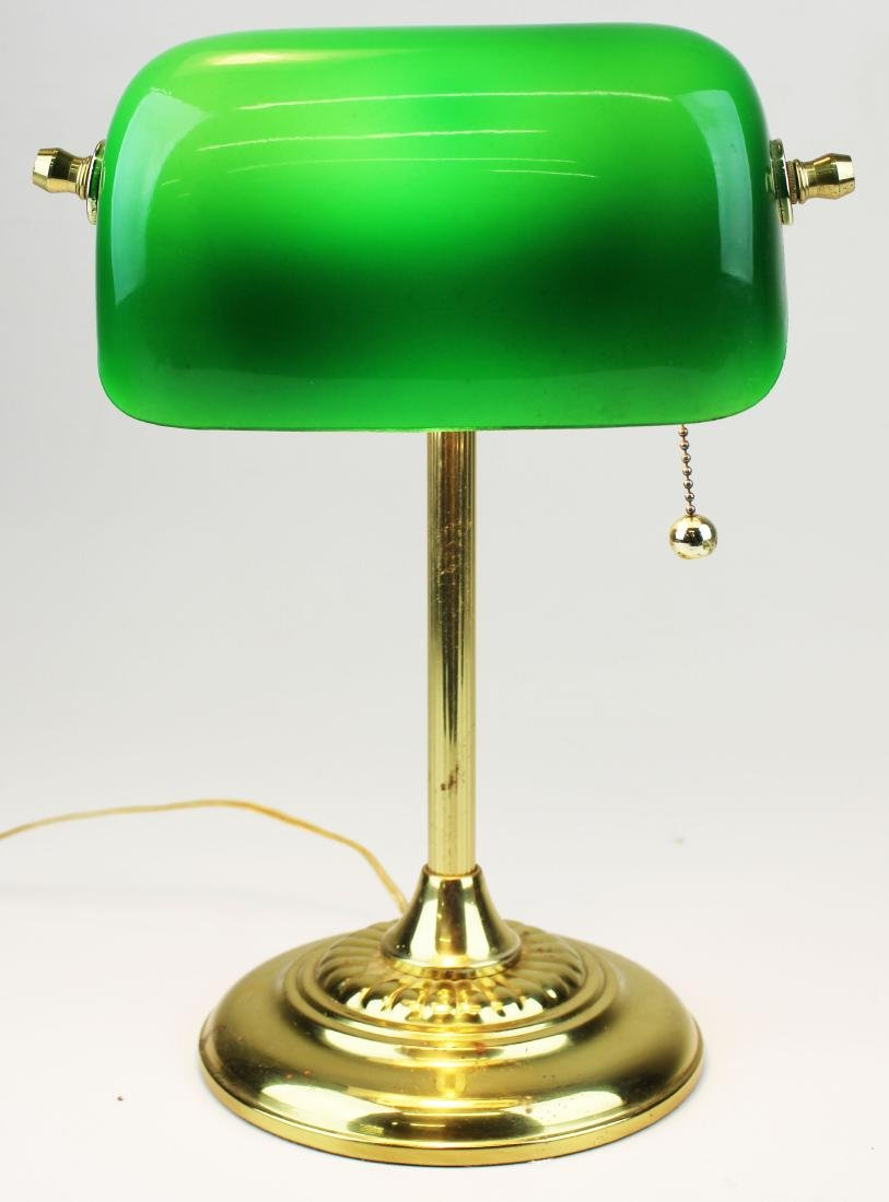 Brass banker's desk lamp with emerald shade - 2