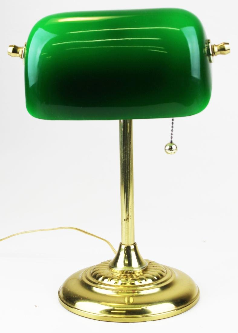 Brass banker's desk lamp with emerald shade - 3