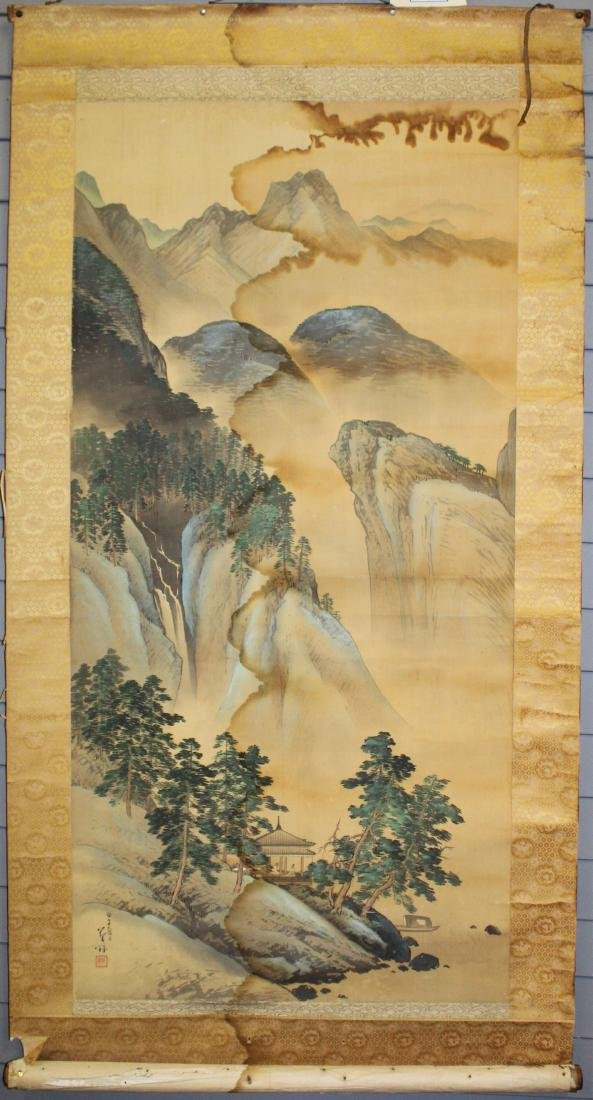 19th c Chinese pen & wash landscape scroll