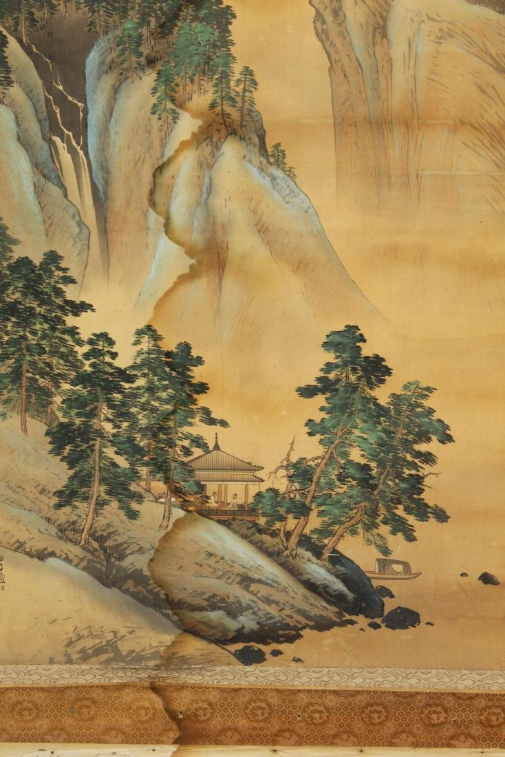 19th c Chinese pen & wash landscape scroll - 2