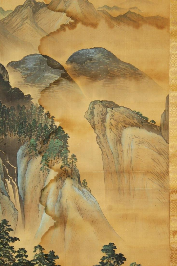 19th c Chinese pen & wash landscape scroll - 3
