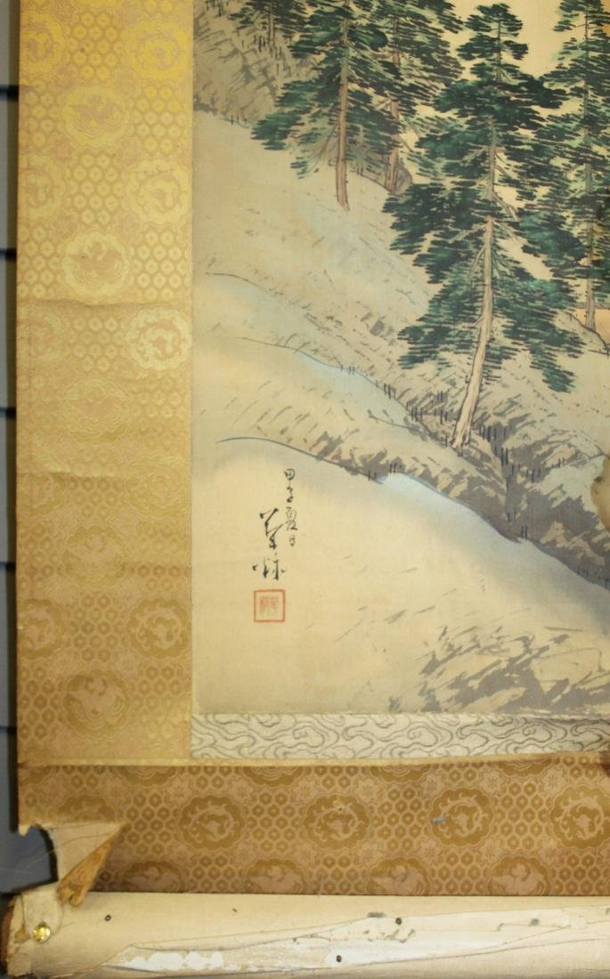 19th c Chinese pen & wash landscape scroll - 4