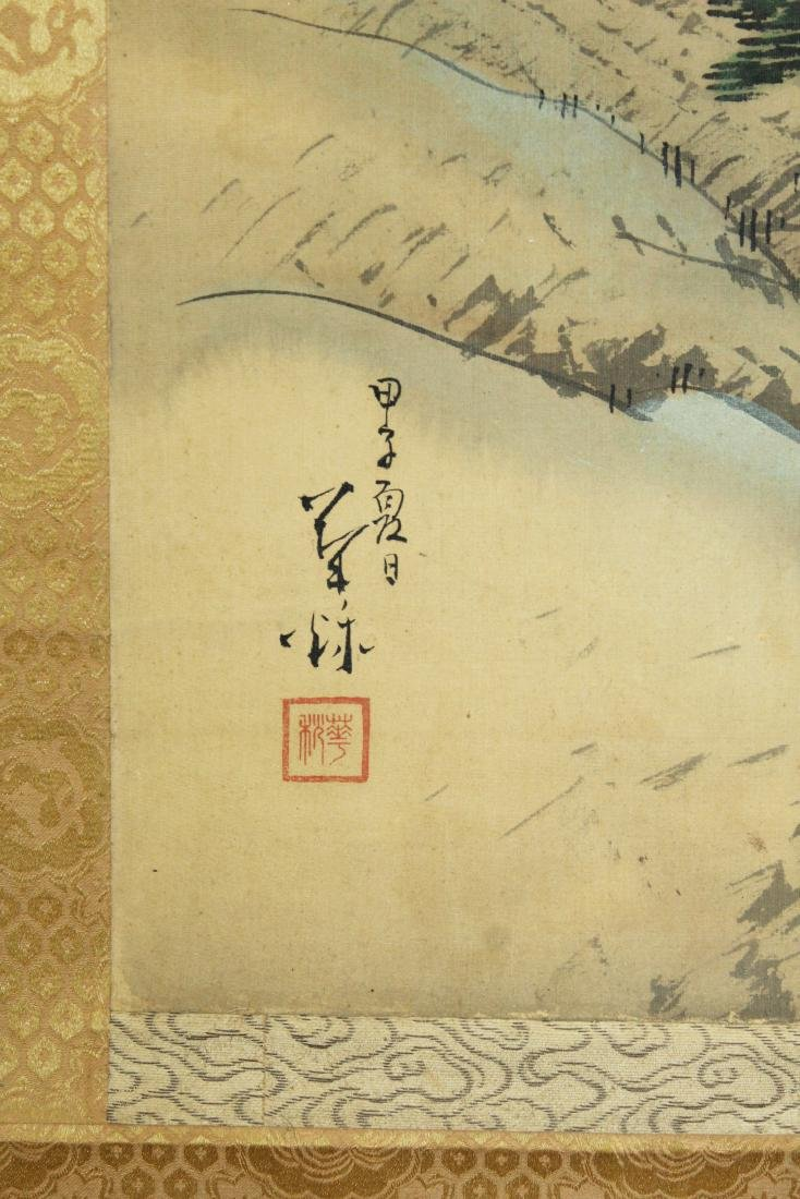 19th c Chinese pen & wash landscape scroll - 5