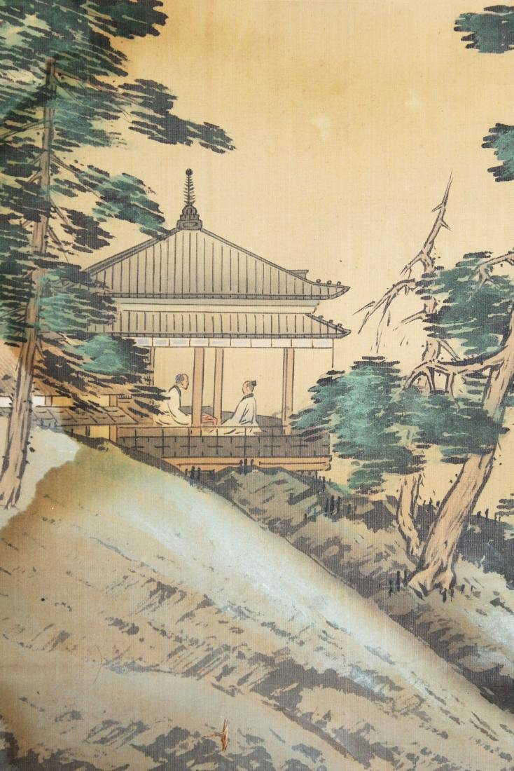19th c Chinese pen & wash landscape scroll - 6