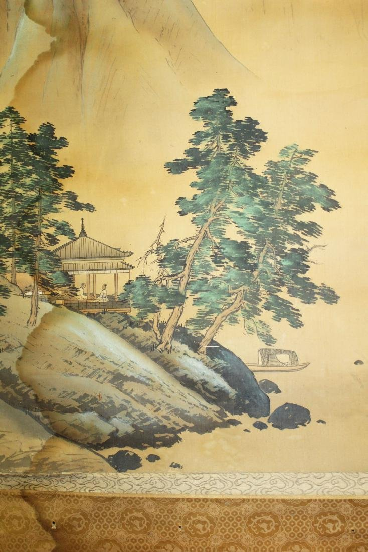 19th c Chinese pen & wash landscape scroll - 7