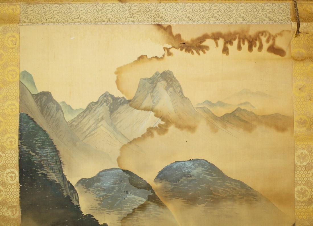 19th c Chinese pen & wash landscape scroll - 8