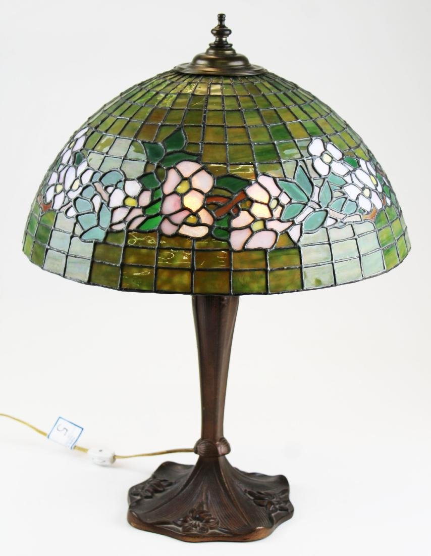 early 20th c lamp with leaded glass shade - 13