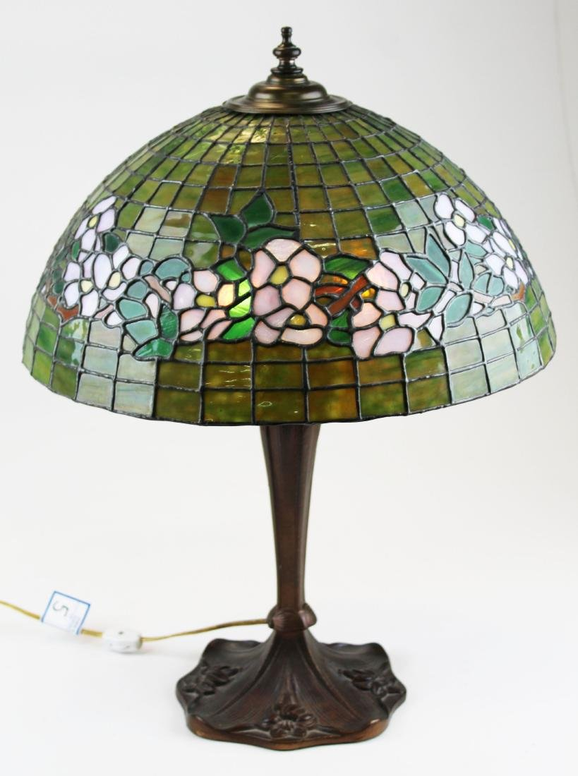 early 20th c lamp with leaded glass shade