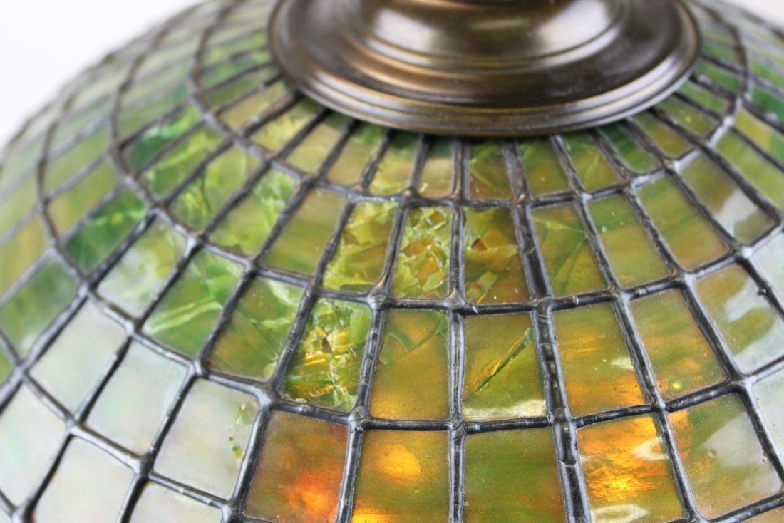 early 20th c lamp with leaded glass shade - 3