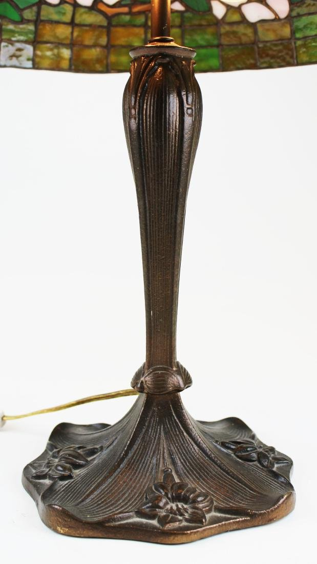 early 20th c lamp with leaded glass shade - 4