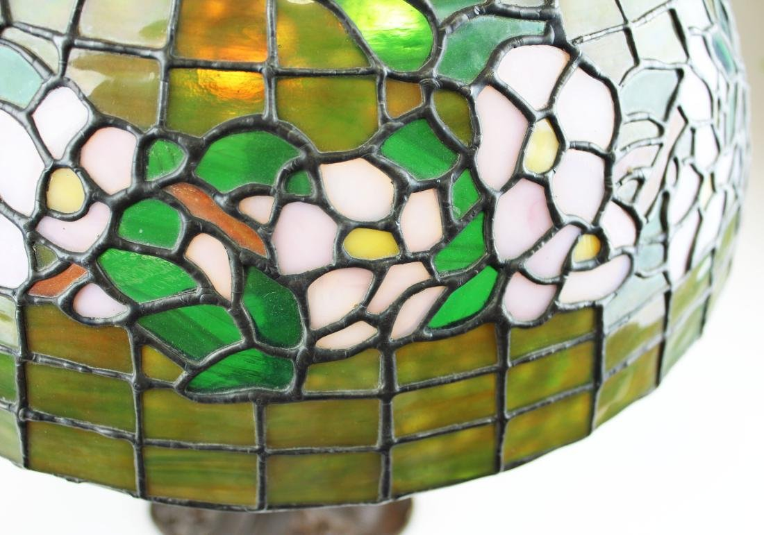 early 20th c lamp with leaded glass shade - 5