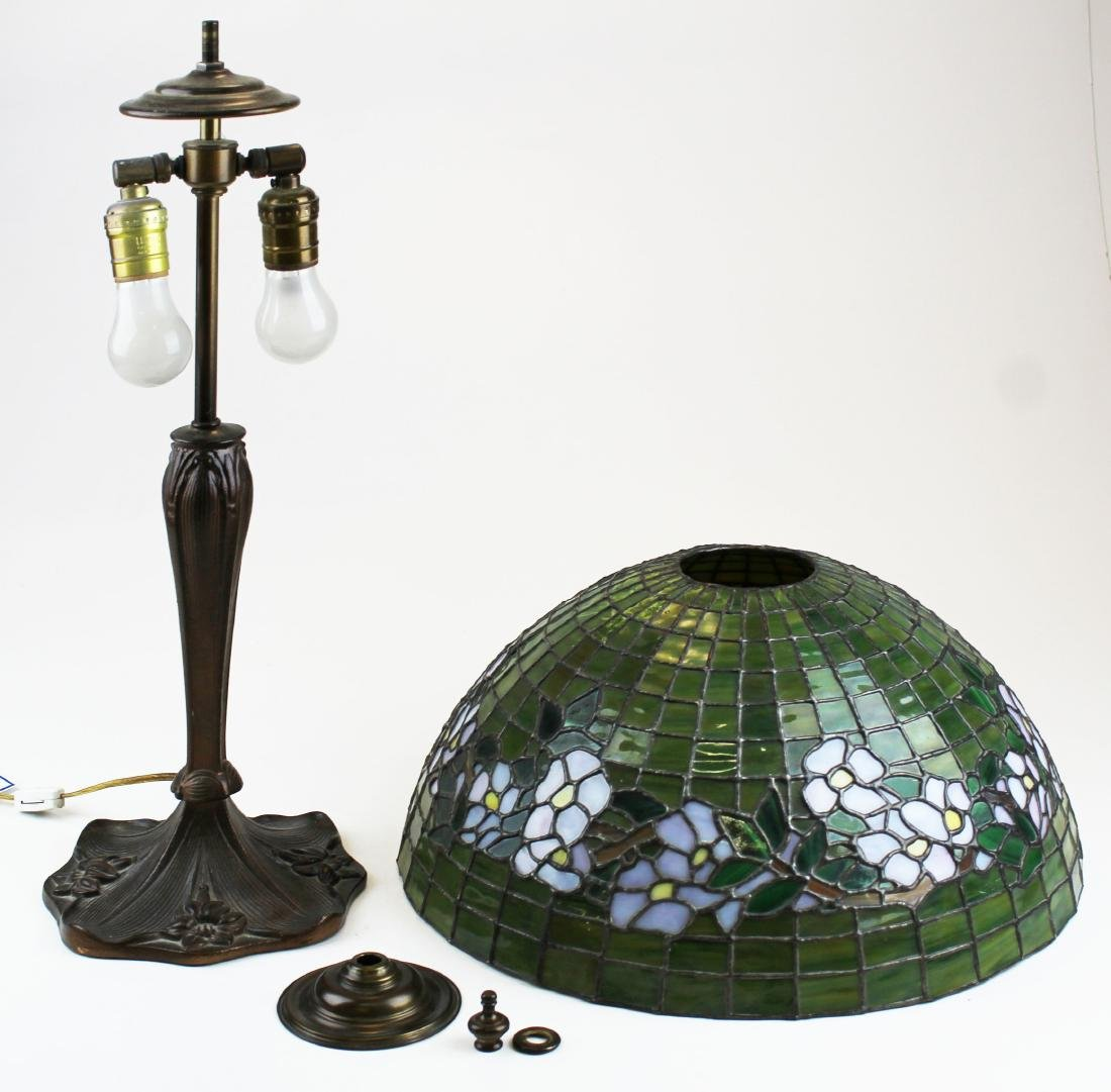 early 20th c lamp with leaded glass shade - 6