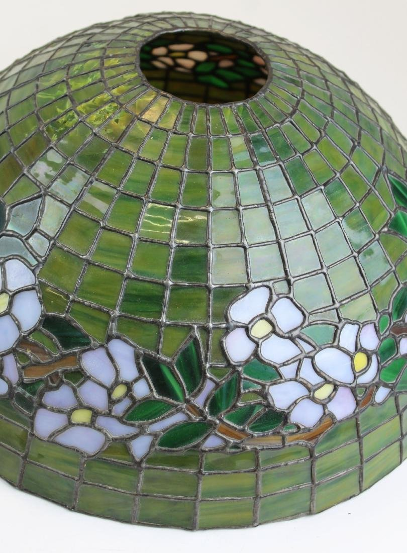 early 20th c lamp with leaded glass shade - 7