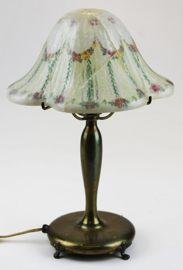 Pairpoint boudoir lamp with cracked shade - 5