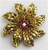 Tiffany & Co 18k yellow gold, ruby & diamond pin