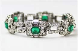 Mappin & Webb Art Deco emerald diamond bracelet