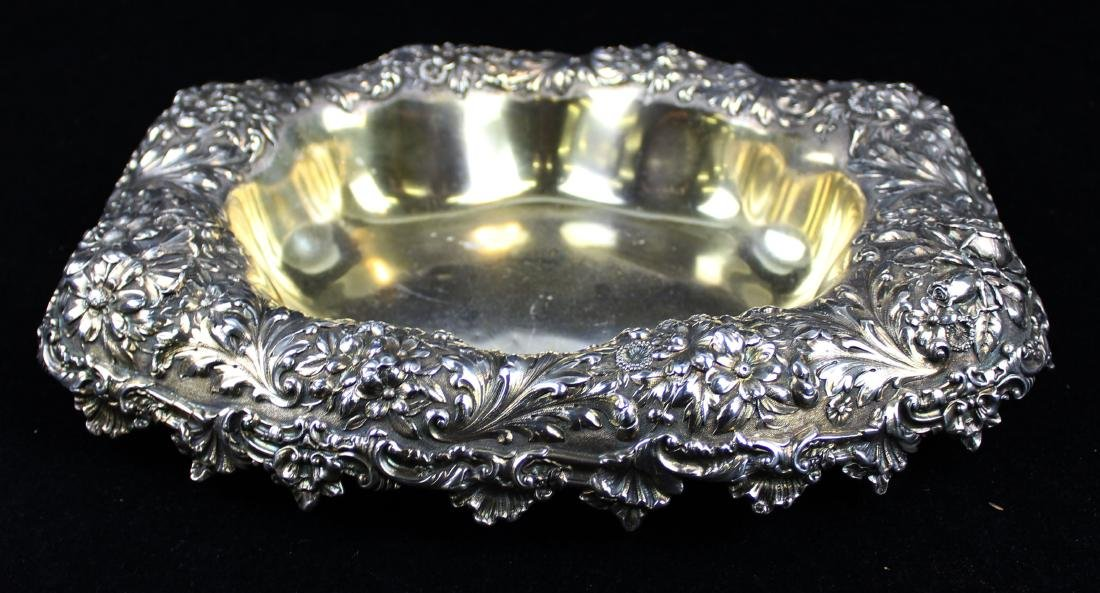 Gorham floral repousse sterling silver bowl - 3