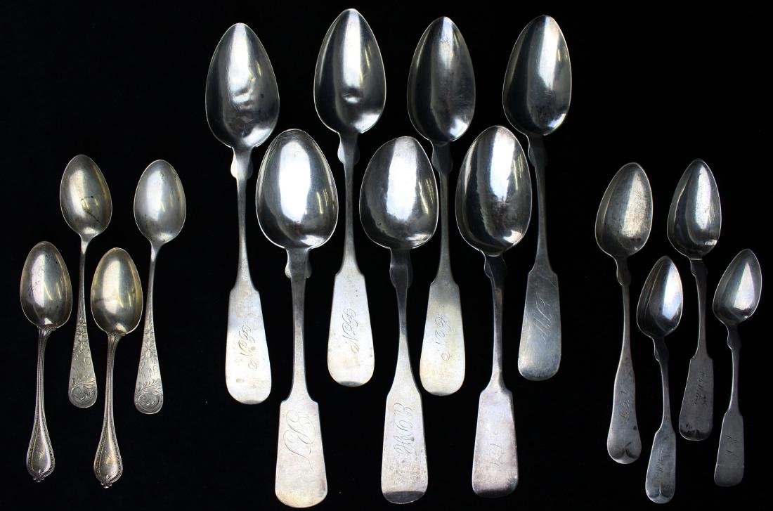 collection of 15 coin and sterling silver spoons