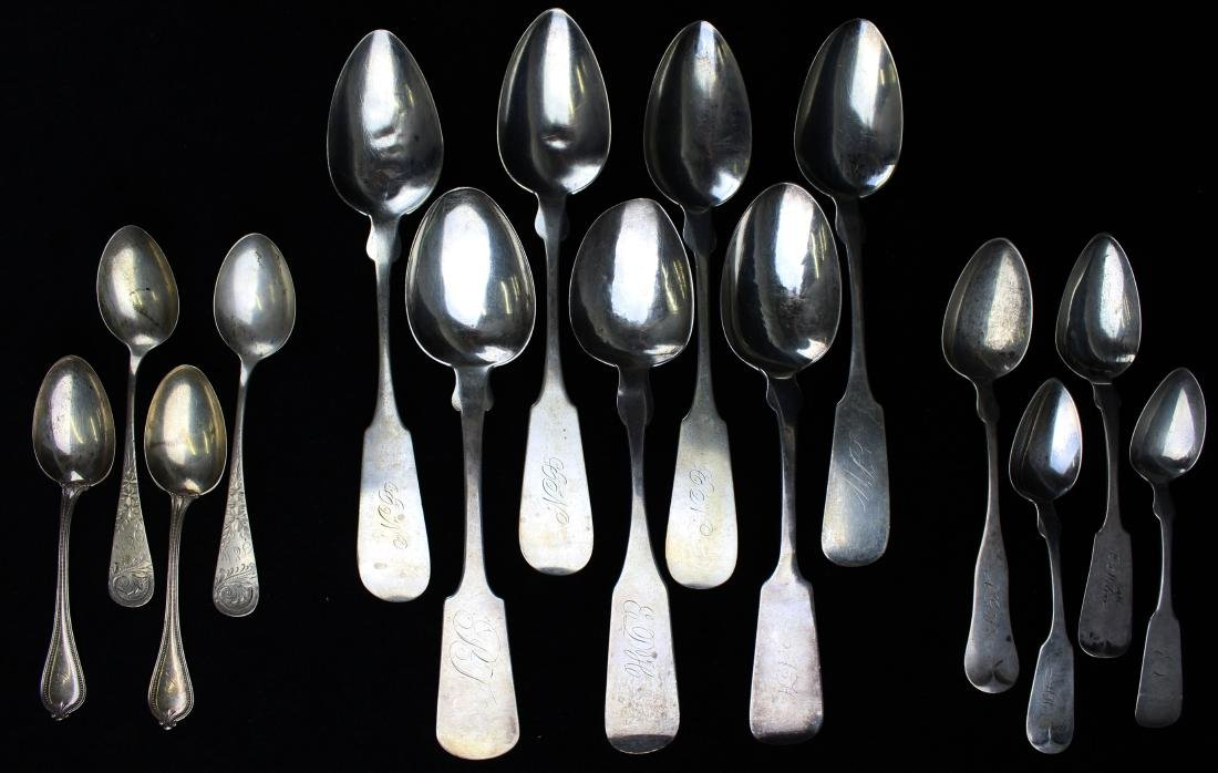 collection of 15 coin and sterling silver spoons - 5