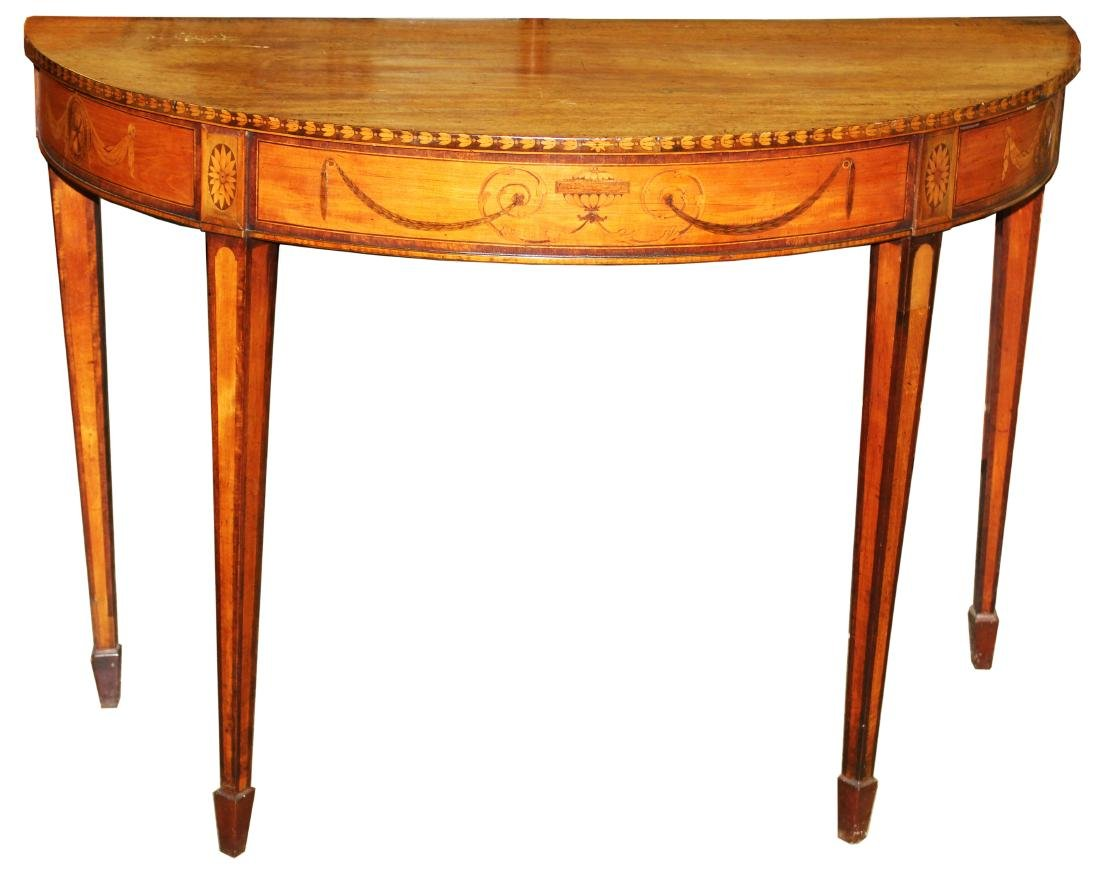 English Geo. III satinwood inlaid console table