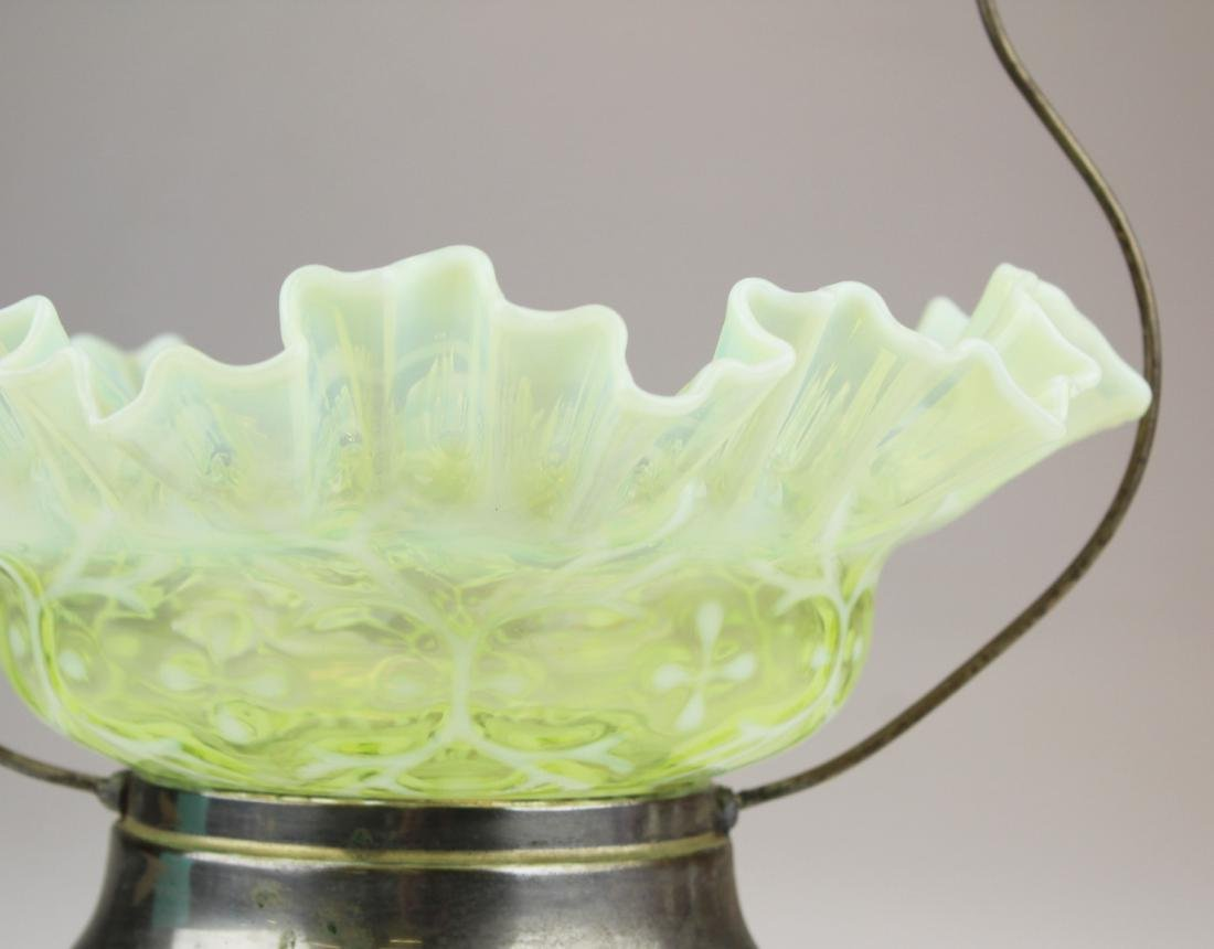Victorian opalescent canary glass brides basket - 4