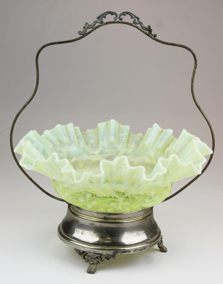 Victorian opalescent canary glass brides basket - 9