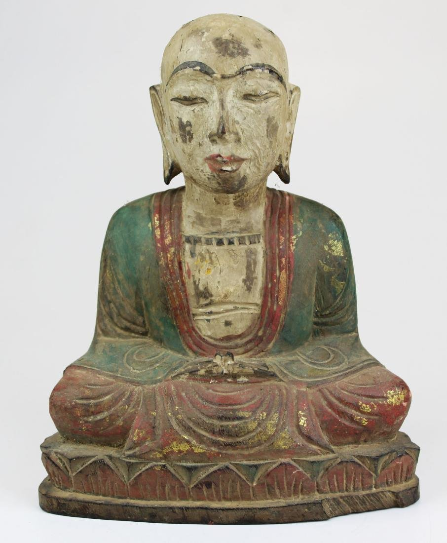 early 20th c SE Asian carved wooden Buddha