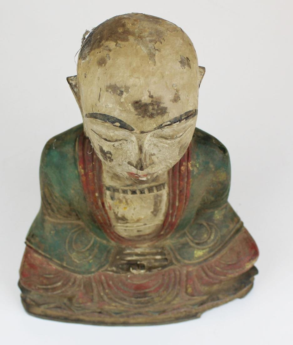 early 20th c SE Asian carved wooden Buddha - 5