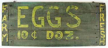 painted wooden eggs for sale sign from Stowe