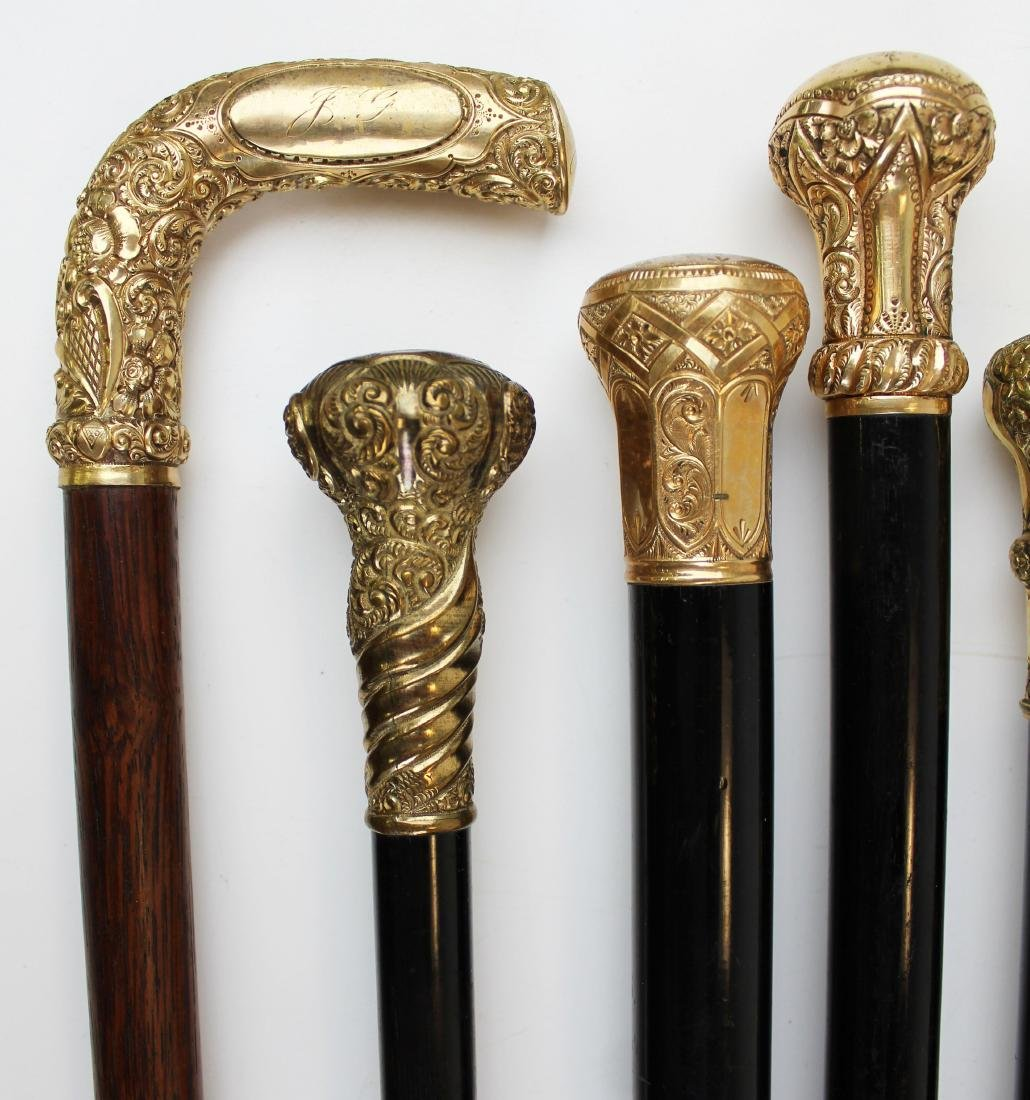 twelve Victorian gold headed canes - 4