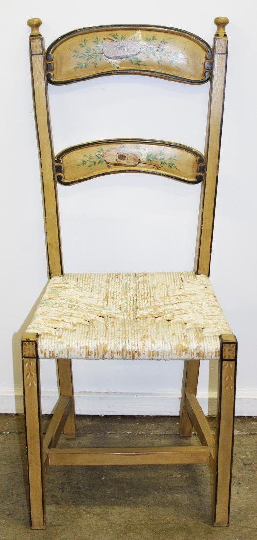 4 Continental paint decorated ladder back chairs