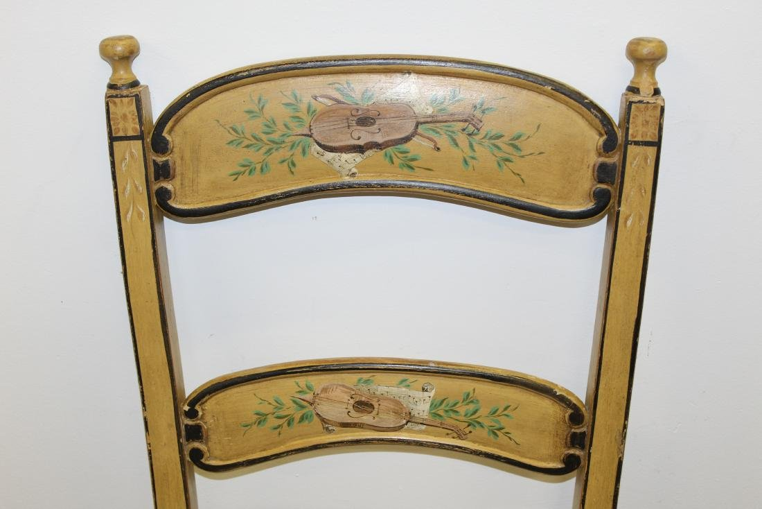 4 Continental paint decorated ladder back chairs - 3