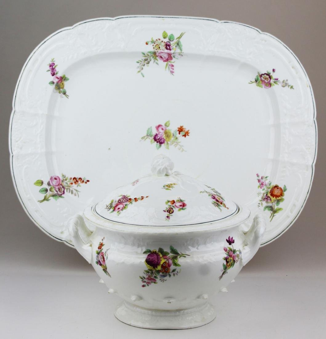 English Swansea porcelain tureen and platter