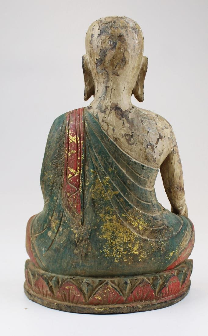 early 20th c SE Asian carved wooden Buddha - 3