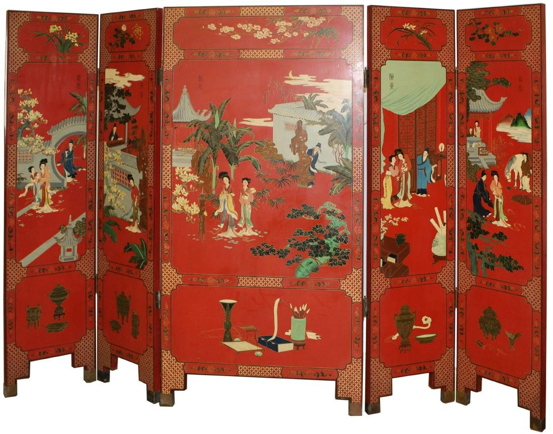 Oriental lacquered five section folding screen