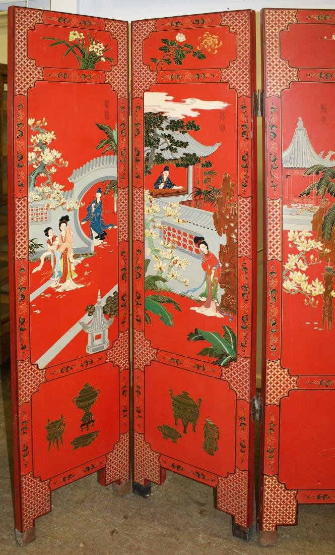 Oriental lacquered five section folding screen - 3