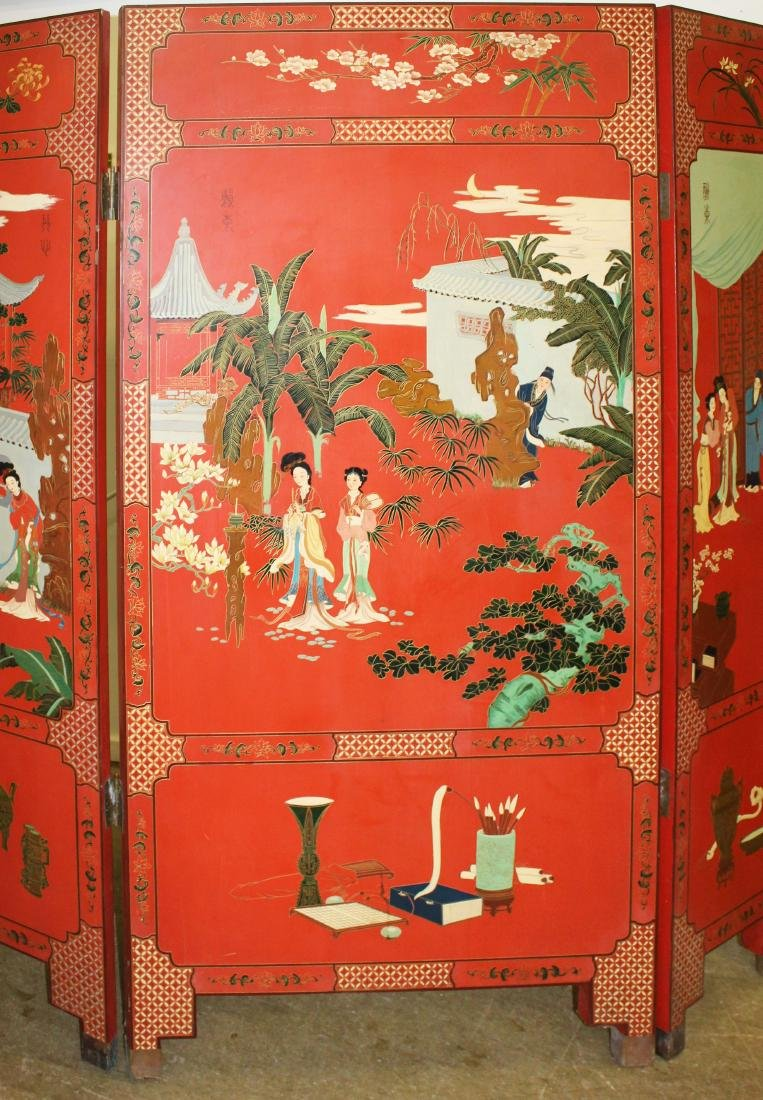 Oriental lacquered five section folding screen - 4