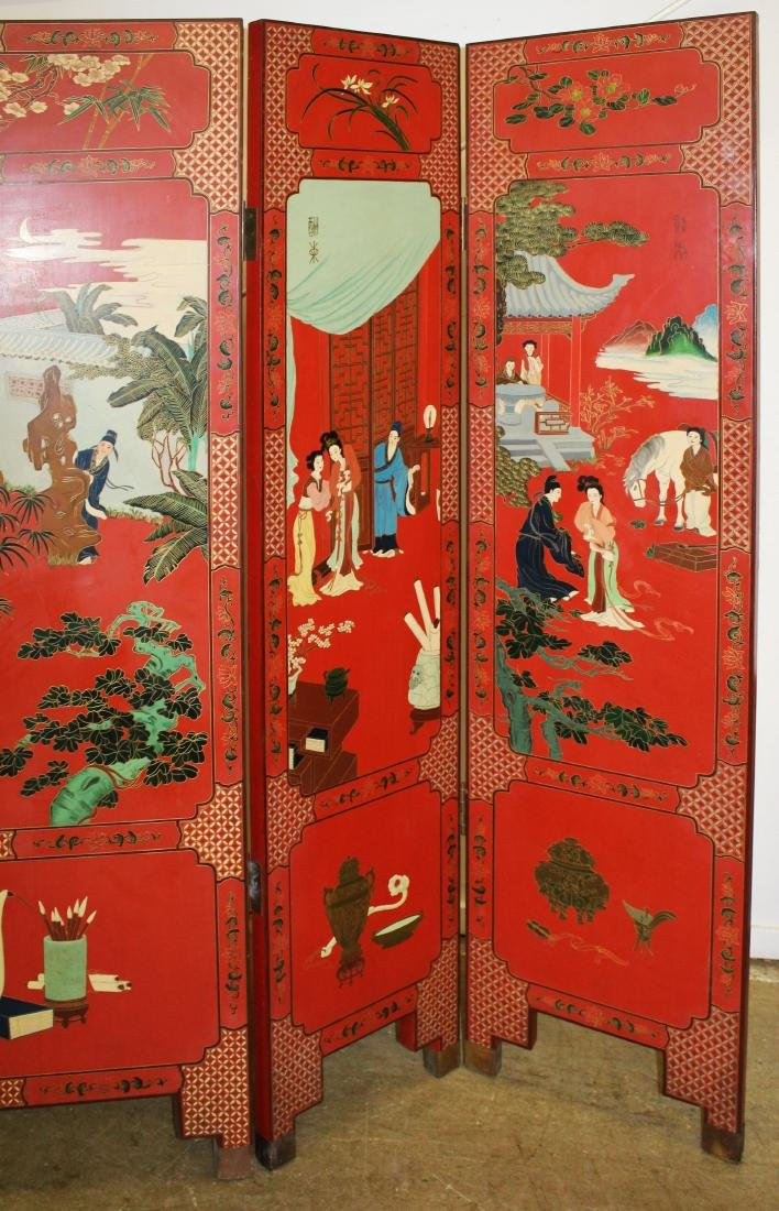 Oriental lacquered five section folding screen - 5