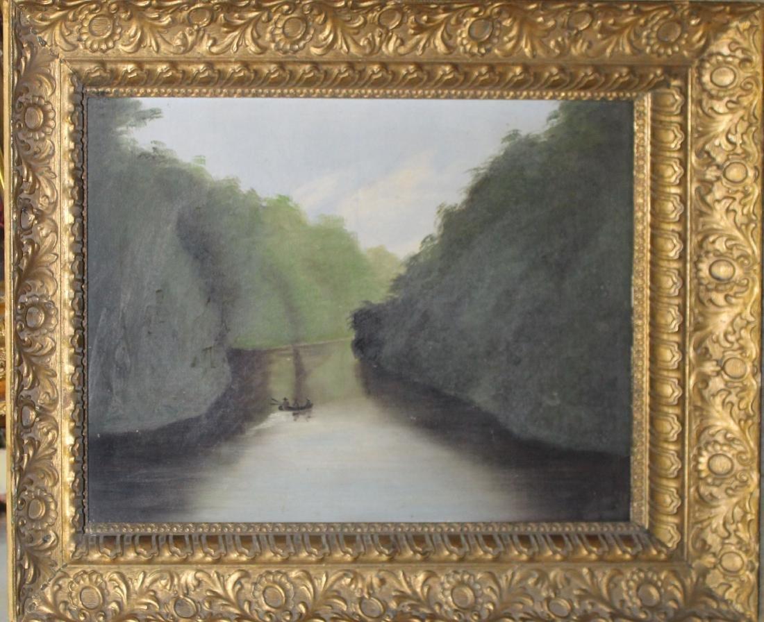 19th c American School river scene
