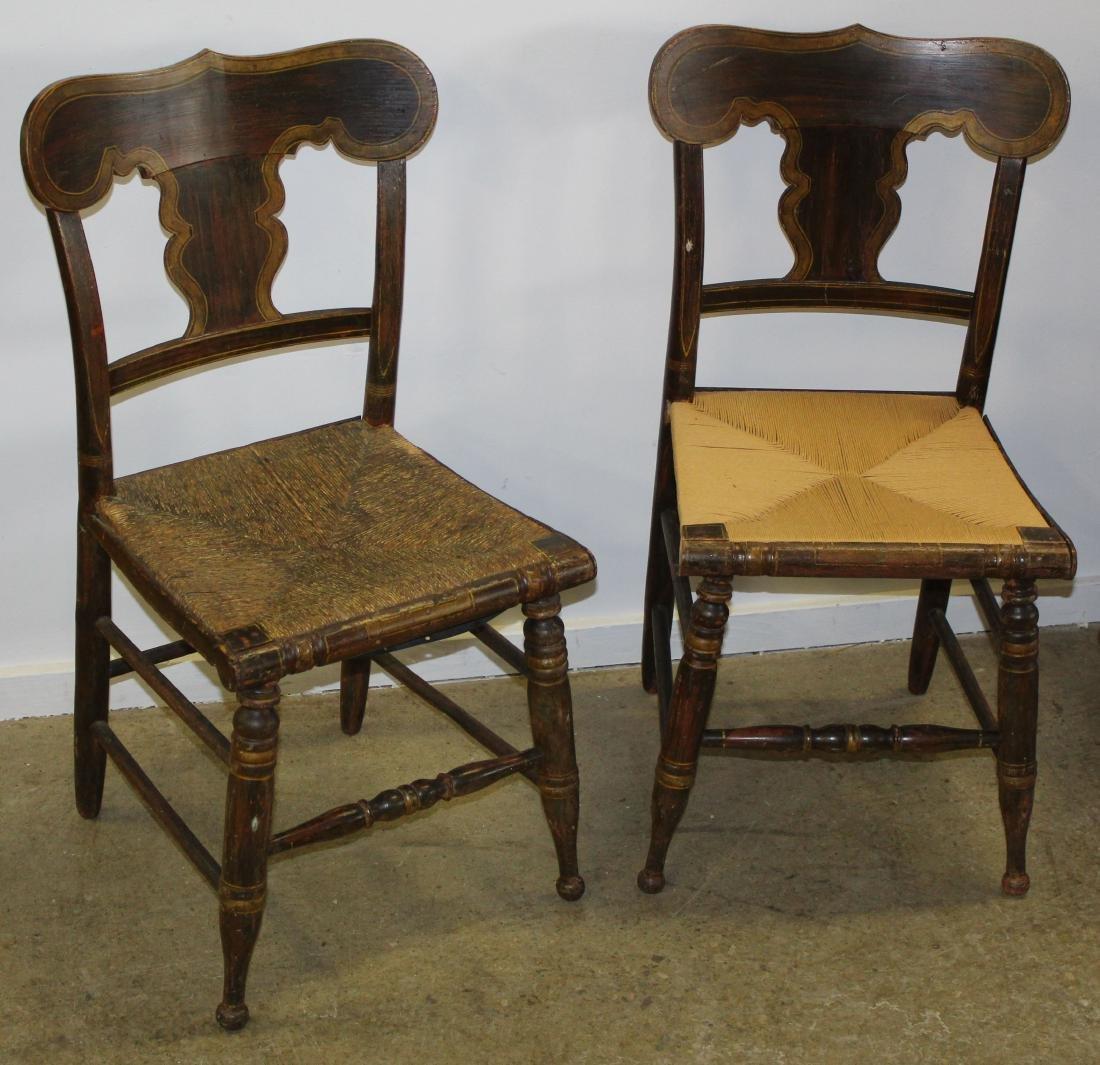 Pair of Sheraton rush seat paint decorated chairs